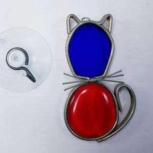 Vintage Stained Glass Suncatcher Red Blue Cat